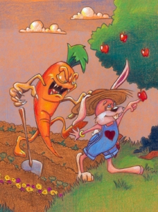 carrot monster postcard